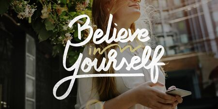 encourage: Believe In Yourself Confident Encourage Motivation Concept Stock Photo