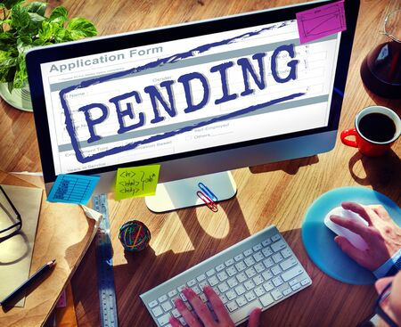 pending: Pending Application Form Document Reply Concept Stock Photo