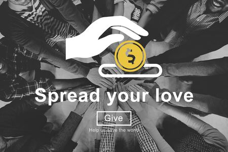 black empowerment: Spread Your Love Helping Hands Donate Concept Stock Photo
