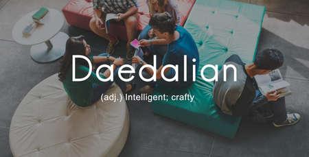 characteristic: Daedalian Crafty Intelligent Artistic Smart Concept Stock Photo