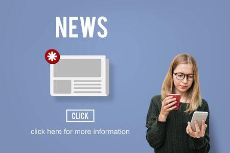 Nieuws Nieuwsbrief Aankondiging Daily Concept Stockfoto