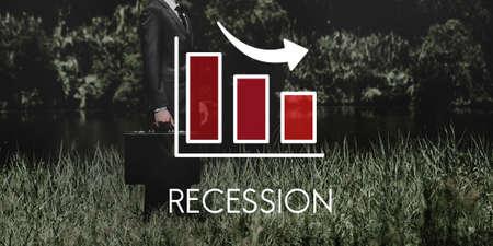 attache case: Recession Decrease Business Barchart Concept