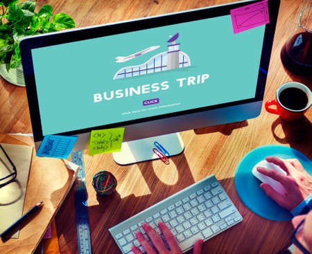 airplane take off: Business Trip Flights Travel Information Concept Stock Photo