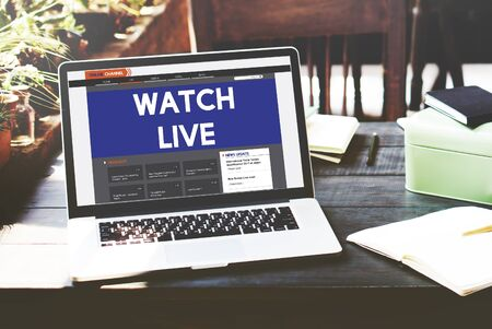 news online: Live Broadcast Media News Online Concept Stock Photo