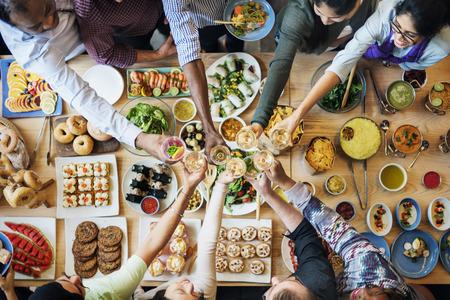 Mensen Viering wijntoost Geluk Succes Concept