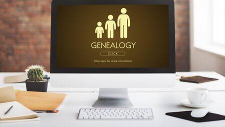 Generaciones de la familia de la genealogía relación de conceptos Foto de archivo