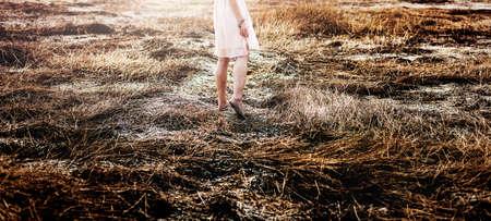 Field Solitude Teanquil Woman Journey Explore Concept Stock Photo