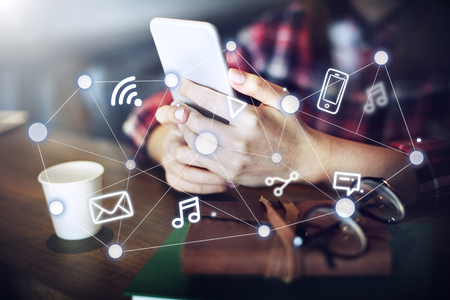 mobile internet: Social Networking Global Communications Technology Connection Concept