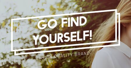 yourself: Go Find Yourself Aspirations Goal Success Concept Stock Photo