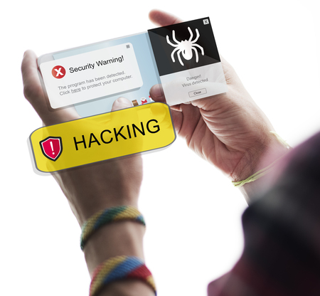 Hacking concept on mobile phone Stock Photo
