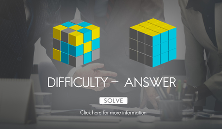 answer: Difficulty Answer Solution Solving Strategy Result Concept Stock Photo