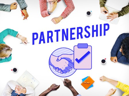 treaty: Business Contract Partnership Handshake Tick Concept Stock Photo