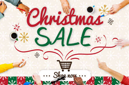 Christmas Sale Winter Promotion Offer Concept Stock Photo