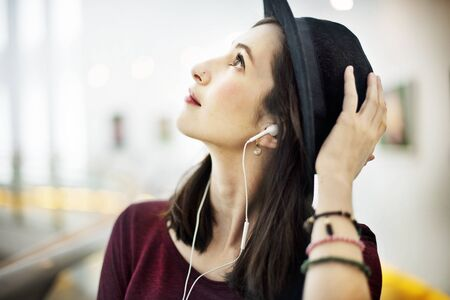 audio equipment: Audio Equipment Casual Earphones Gadget Relax Concept Stock Photo
