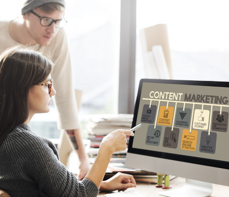 Content Marketing Blog Marketing Advertise Concept Foto de archivo