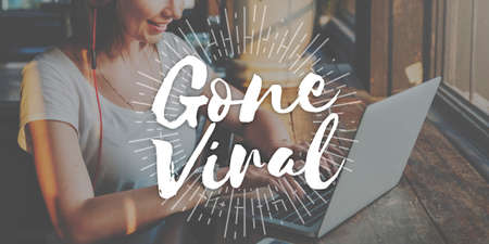 gone: Gone Viral Social Media Networking Connection Sharing Concept Stock Photo