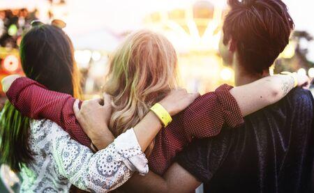 huddle: Friends Huddle Happiness Amusement Park Festival Concept