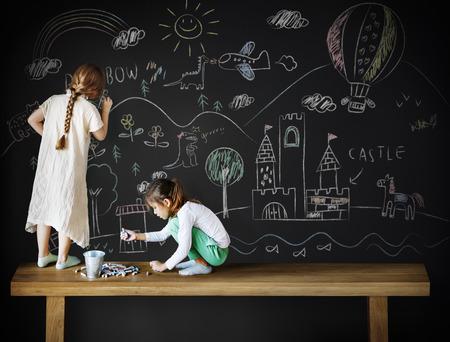 friendliness: Creative Drawing Imagination Girl Blackboard Concept Foto de archivo