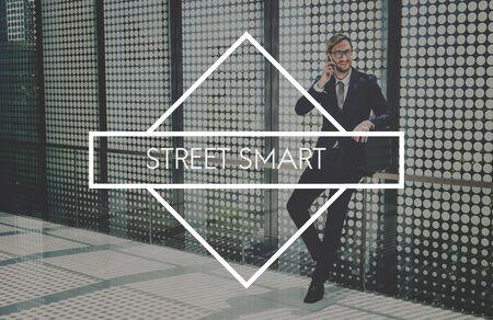 businessman waiting call: Street Smart Effective Efficient Work Working Concept