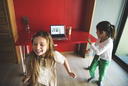 computer dancing: Kids Dancing Practice Computer Concept Stock Photo