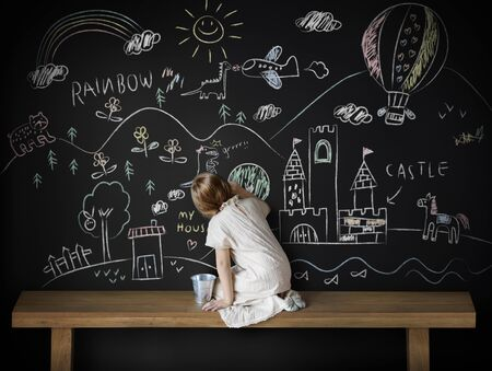 visualise: Creative Drawing Imagination Girl Blackboard Concept Stock Photo