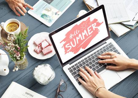 tea break: Using Notebook Summer Tea Break Relax Concept
