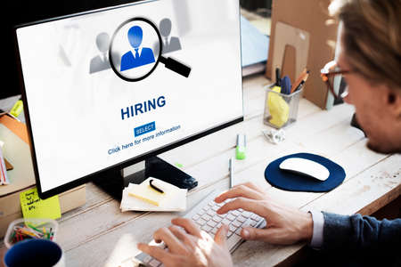 headhunting: Hiring Occupation Recruitment Headhunting Jobs Concept Stock Photo