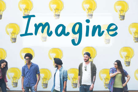 expressing artistic vision: Imagine Vision Inspiration Creativity Dream Big Concept Stock Photo