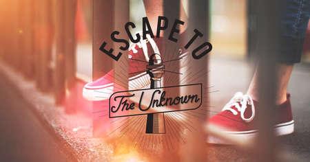 Escape To The Unknown Graphic Concept Stock Photo