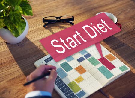 overweight students: Start Diet Healthy Planning Schedule Concept Stock Photo