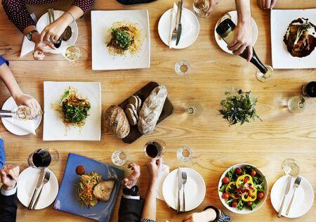 restaurant dining: Dining Businessmen Businesswomen Cafe Relax Concept