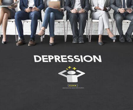 depressive: Depression Headache Stress Disorder Illness Concept Stock Photo