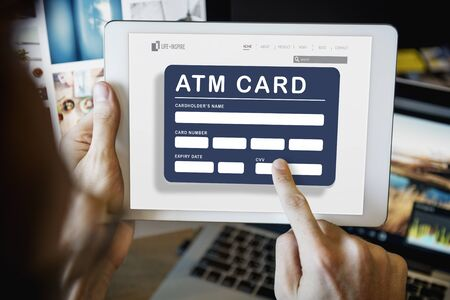cuenta bancaria: La cuenta de tarjeta ATM Concepto de Finanzas del Banco