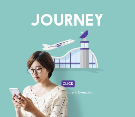 airplane take off: Journey Business Trip Flights Travel Information Concept Stock Photo