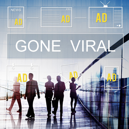 gone: Gone Viral Advertisement Commercial Digital Marketing Concept Stock Photo