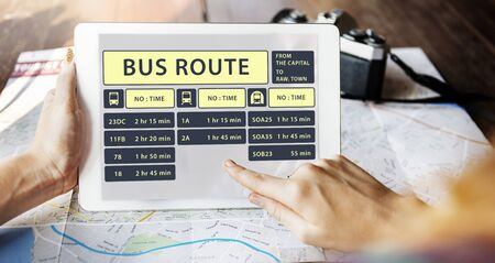 wireless terminals: Bus Route Express Terminal Schedule Concept Stock Photo