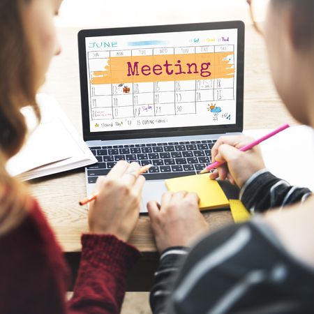 meeting agenda: Meeting Agenda Planner Reminder Calendar To Do Concept Stock Photo