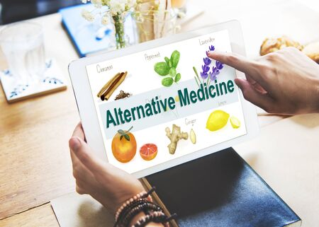 pointing herbs: Alternative Medicine Health Herb Therapy Concept