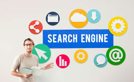 guide board: Seo Search Engine Optimization Searching Concept Stock Photo
