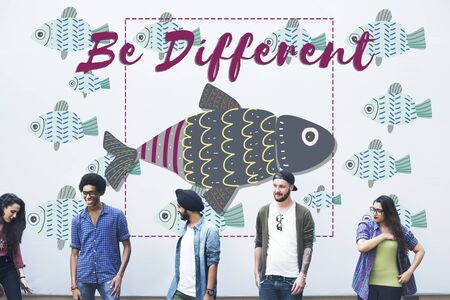individuality: Individuality Unique Different Fish Graphic Concept