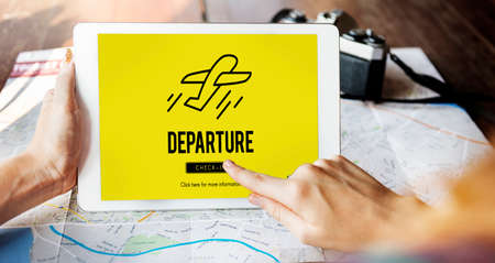 departure: Departure Plane Check In Travel Concept