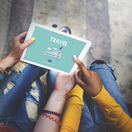 business trip: Travel Business Trip Flights Information Concept