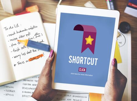 shortcut: Shortcut Internet Guide Direction Process Concept Stock Photo