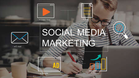 business media: Social Media Advertisement Connection Concept