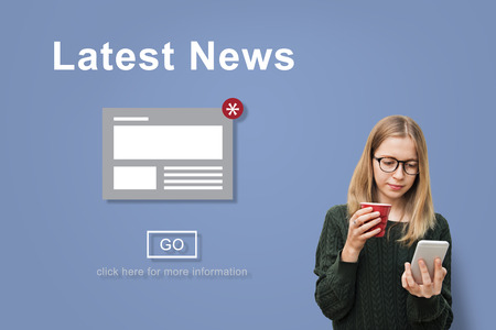 latest news: Latest News Announcement Broadcast Article Concept Stock Photo