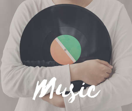 dancefloor: Female Holding Vinyl Music Graphic Concept Stock Photo
