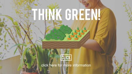 mature adult: Think Green Farming Planting Gardening Concept