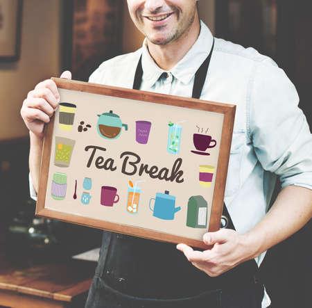 tea break: Tea Break Beverage Cafe Drink Relaxation Concept Stock Photo