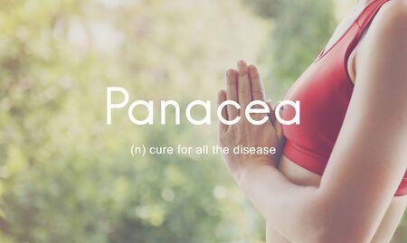 pocima: Enfermedades panacea curar a la gente de la Salud concepto gráfico