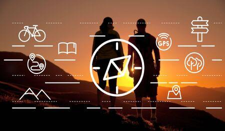 Navigation Navigator Compass Orientation Travelling Concept Stock Photo